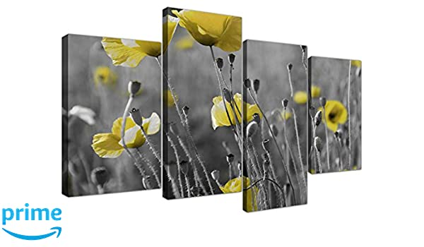 Yellow and Grey Canvas Wall Art of Rose Pictures for your Living Room 4255...