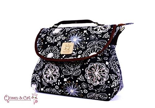GRAND Sac bandoulière imperméable 3 en 1/Sac à dos,sac porté main Queen & Cat (Fleur filé fond noir)+Trousse de toilette imperméable OFFERT