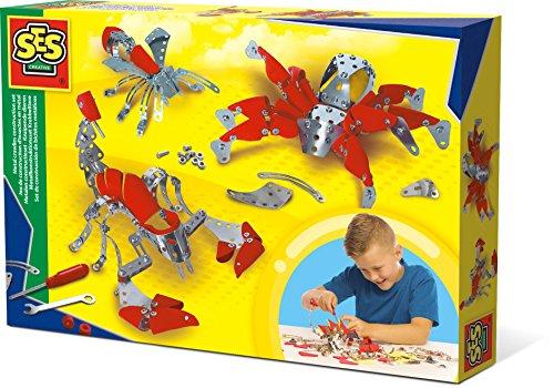 SES Creative Set de construcción de bichitos metálicos - Juguetes de construcción (Juego de construcción, Rojo, Plata, 6 año(s), Niño/niña, Niños, CE)
