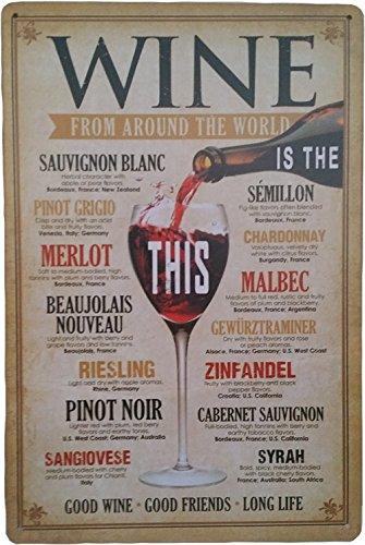 Retro da parete in metallo Tin Sign vino Merlot Buon Vino buoni amici tukoh - Buon Vino