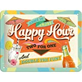 Nostalgic Art Beer and Spirits Happy Hour Metal Sign 15 x 20 cm