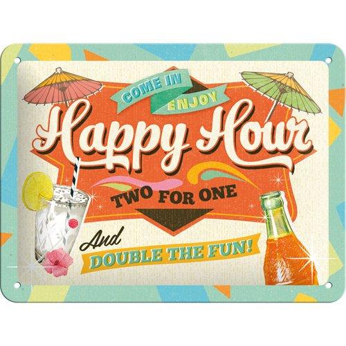 Nostalgic-Art 26152 Open Bar - Happy Hour, Blechschild 15x20 cm