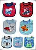 SO CUTE BABY BOYS BIBS PACK OF 7 ADORABLE BIBS,FULLY LINED,INNER PVC WATERPROOF 100% COTTON SUITABLE FROM NEWBORN - 3 YEARS