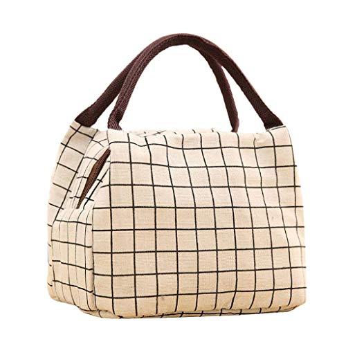 KonJin Lunch Tasche Klein Leicht Handtasche Isoliertasche zur Arbeit Schule Faltbar Wasserdicht Reißverschluss Plaid Mittagessen Beutel