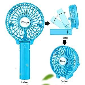 iegrow usb ventilator leise mini handventilator ventilatoren l fter mit batterie farbe blau. Black Bedroom Furniture Sets. Home Design Ideas