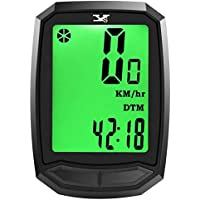 Y&S Bicycle Computer Wireless Waterproof Cycling Computer with Backlight Large HD LCD Screen Display & Auto Off 12 Functions Bike Speedometer for Mountain Bike Spin Bike Indoor/Outdoor Exercise