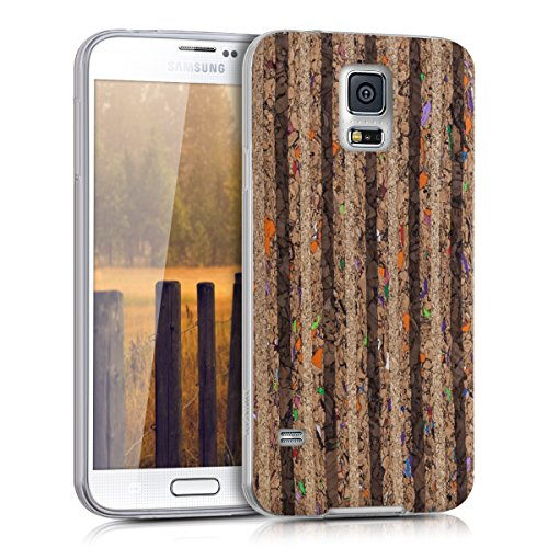 kwmobile Samsung Galaxy S5 / S5 Neo Hülle - Handyhülle für Samsung Galaxy S5 / S5 Neo - Handy Case in Mehrfarbig Schwarz Hellbraun