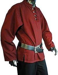Mittelalter Piratenhemd mit Stehkragen, rot, Größen M - XXXL