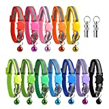 XLYYLWB Reflective Cat Collars with Bells and Safety Release 12 pack & 2 pack Anti-Lost Tags