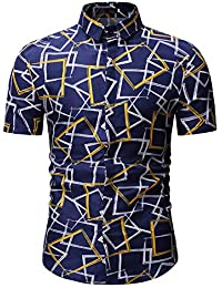 2e754528bc3 GZYD Camisa de Verano de Manga Corta para Hombre. Moda Hawai Playa Camisa  Solapa impresión Botón Cárdigan Secado rápido…
