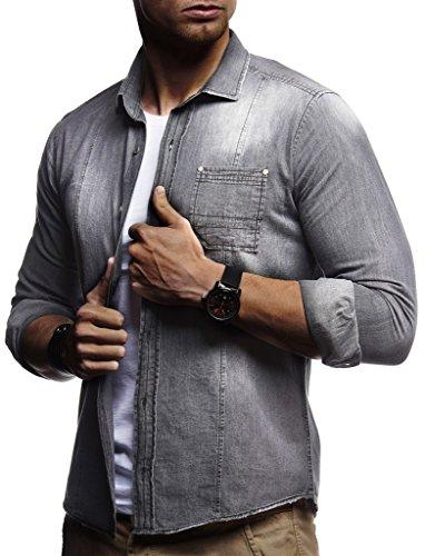 LEIF NELSON Herren Männer Overshirt Freizeit Denim Hemden Jeans Jacke Weste Destroyed Verwaschen Vintage Langarm Kurzarm
