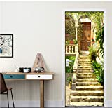 Adesivo Per Porte In 3D Giardino Murale Scale In Pietra Adesivi Per Carta Da Parati Poster Adesivo Per Porte In Pvc Autoadesivo-77X200