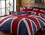 Rock'N Roll - Set copripiumone, divertente motivo bandiera Regno Unito (Union Jack) blu-rosso-bianco, dimensioni King