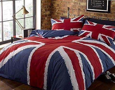 Rock N Roll Funky - Très grande housse de couette à imprimé Union Jack (UK) bleu-rouge-blanc, parure de lit, bleue
