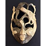 Wood Carved African Mask Wall Art Goddess Of Protection Abstract Art Wall Hanging Decor - Collector's Item - OMA Brand (Protection)