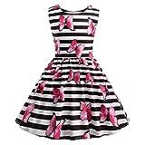 Tyoby Baby Mädchen Kleid Ärmelloses Prinzessinnenkleid Blumendruck Rundhalsausschnitt Tutu(Rosa,140)