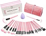 Make up Brushes, Start Makers Pink Makeup Brushes Professional Cosmetics Essential 32+1 Pieces Makeup Brush Set with Purple Beauty Blender and Gift Box