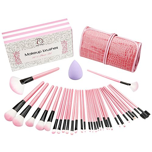 Make up Pinsel set 32+1 - teiliges Schmink Pinselset mit Etui Kosmetik Lidschatten Gesichtspinsel Miracle Make-up Schwamm luxuriös stilvoll Geschenkschachtel (Up Komplettes Make Set)