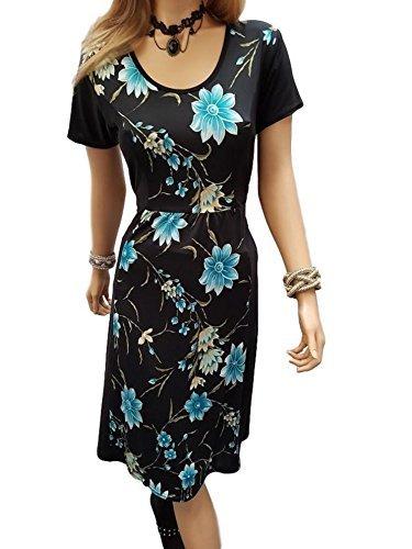 grande taille fleur floral longueur genou Robe tissu facile d'entretien 12-26 UK Turquoise