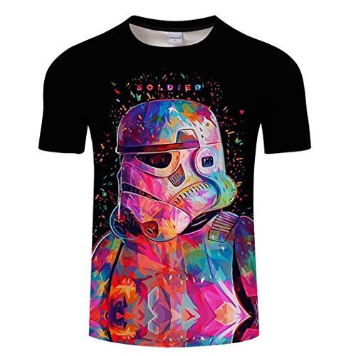 Star Wars Manga CortaImperial Stormtrooper 3D Digtal Impresión Fans Camiseta Traje Deportivo Camisa de Pareja Tops de Verano,B,M