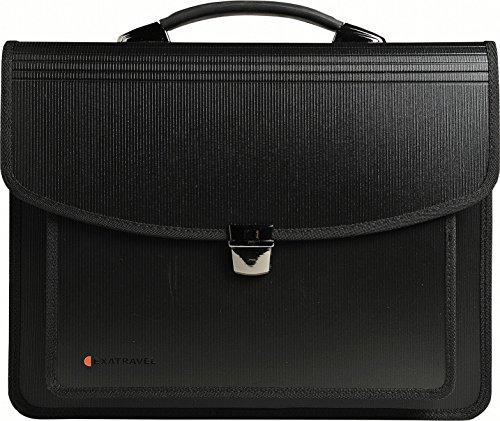 Exacompta 55734E Tasche multifunktions aus Stabilem Recycling-PP 2 mm, mit fächermappe und laptopfach exatravel, format Din A4, schwarz - Schwarz Fs Usb