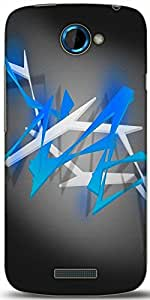 Snoogg Blue Spiky Abstract Background Designer Protective Back Case Cover For HTC One S