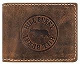 Hill Burry Herren Geldbörse | echt Leder Portemonnaie - aus weichem hochwertigem BüffelLeder - Brieftasche Portmonee Geldbeutel | Kredit-Kartenetui Wallet | Querformat (Braun Matt)