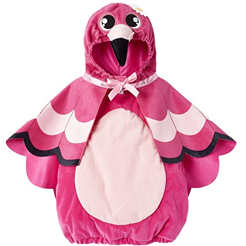 Baby Flamingo Kostüm - Flamingo Baby Fasching Halloween Karneval Kostüm Overall mit Hoodie Cape (62-68)