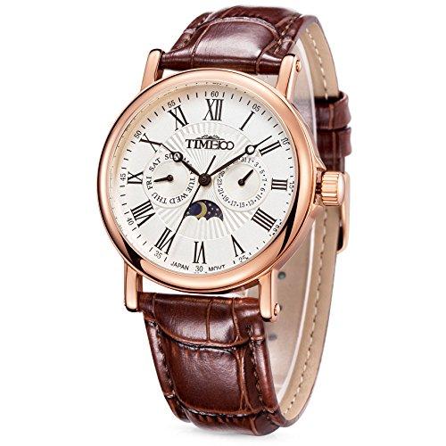 Time W80035G.03A - Reloj para hombres, correa de cuero color marrón