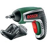 Bosch DIY Akku-Schrauber IXO Set 4. Generation, Winkelaufsatz, Exzenteraufsatz, 10 Schrauberbits, Ladegerät, Metalldose (3,6 V, 1,5 Ah)