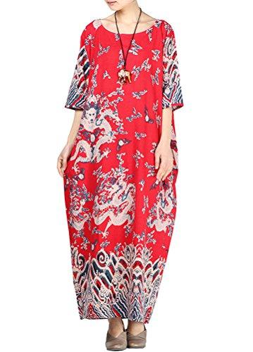 Muster Druck Robes Kleid Art 1 Rote (Womens Roben Plus Größe Kurze)