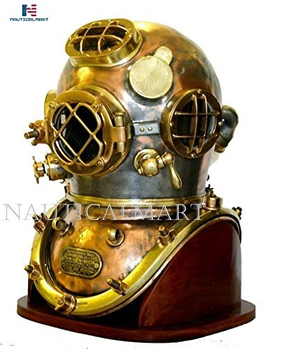 NAUTICAL MART Nautisches Mart Vintage Antik Tauchen Taucher Helm US Navy Mark V Helm mit Boden