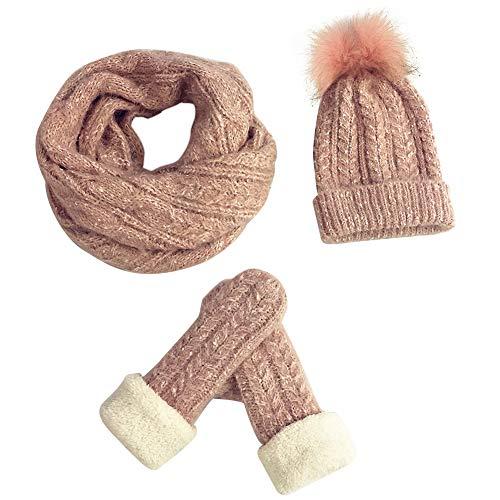 Amorar guanti invernali sciarpa cappello set donna ragazza cavo lavorato a maglia berretto a testa lunga polsino invernale sciarpa fazzoletti da sci guanti con fodera in pile accessori invernali