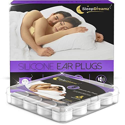 SleepDreamz Silikon Ohrstöpsel (8 Paar) – Gehörschutzstöpsel mit hoch Dezibel Lärmschutz – Ohrstöpsel Schlafen, die Schnarchen & andere laute Geräusche unterdrücken