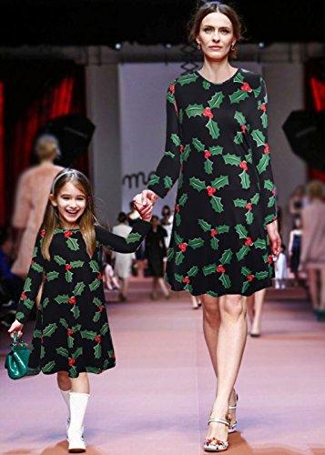 Ruiyige Women's Girl's Christmas Party Dress Flared Swing Mini Dress Nero