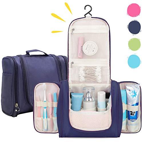 Beauty case da viaggio uomo/donna 14 scomparti borsa da toilette grande con gancio da appendere impermeabile da bagno semi rigido portaoggetti bag organizer pochette make up porta trucchi cosmetici