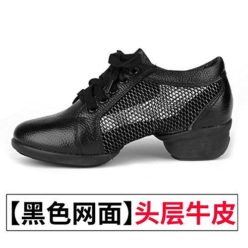 Wuyulunbi@ Scarpe da ballo scarpe da ballo con morbide scarpe di fondo Black net