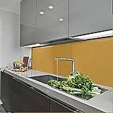 KeraBad Küchenrückwand Küchenspiegel Wandverkleidung Fliesenverkleidung Fliesenspiegel aus Aluverbund Küche Gold Metallic glanz/matt 70x140cm