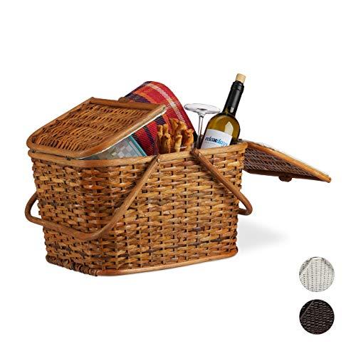 Relaxdays Picknickkorb mit Deckel, geflochten, Stoffbezug, Henkel, großer Tragekorb, handgefertigt, Rattan, Honigbraun