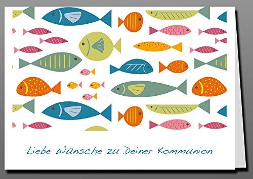 Glückwunschkarte + Briefumschlag + Adressaufkleber zur Kommunion