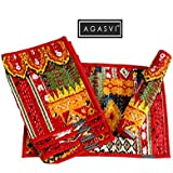 Agasvi Cotton Red Ikat Print With Kantha Embroidered Placemats |Set Of 6 | 19 X 13 Inches (Set Of 6 : Red Ikat Placemat)