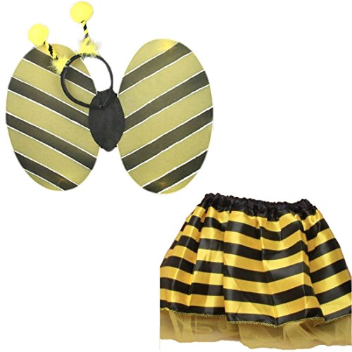 (Islander Fashions Kids Bumble Bee Set von Fl�geln und Satin Tutu Rock Girls Fancy Parteien Kost�m One Size)