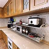 Sunshier Crea più Spazio 304 Cucina in Acciaio Guanto Forno a microonde Staffa scaffale Tubo Quadrato Memoria mensola Rack pentola a Muro (Dimensione : E)
