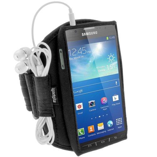 igadgitz Wasserabweisend Schwarz Sports Jogging Armband Laufen Fitness Oberarmtasche für Samsung Galaxy S4 Active I9295