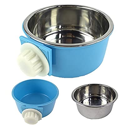 CreaTion® Removable Stainless Steel Hanging Bowl Cat Bowl Dog Water Bowl Birds Food Bowl with Bolt Holder (Blue)