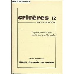 Critères (Hiver 1979/80) N° 12 : La Mort (Jacques Brel) -Hommage À Édit Piaf - Poésie Et Eurythmie- Alain Letranger-Serge Marcaud-André Camus-Marc Perrais-Jean Pierre Metge-Hubert Got..