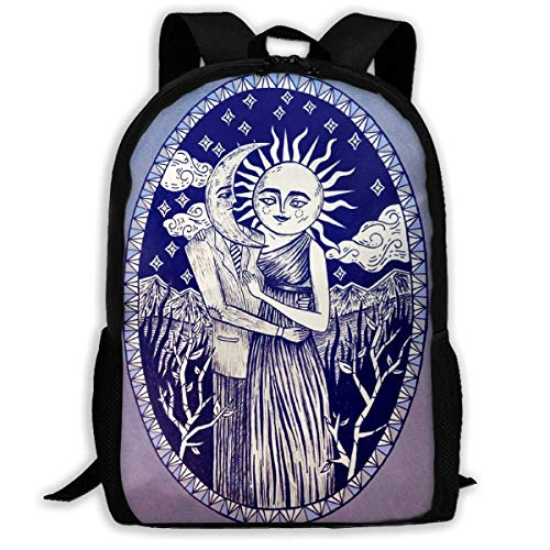 Sac à Dos Scolaire, Romantic Wedding Moon Sun Many Fractal Faces Blue Background School Backpack Knapsack Fashion Daypack Children Rucksack for Teens