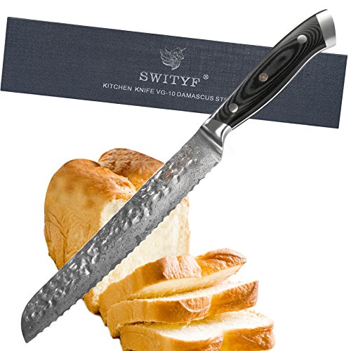 SWITYF Damast Stahl Brotmesser 20cm Profi hohen Kohlenstoffgehalt . alveolar design Klinge, Verbundwerkstoff G10 Handgriff.