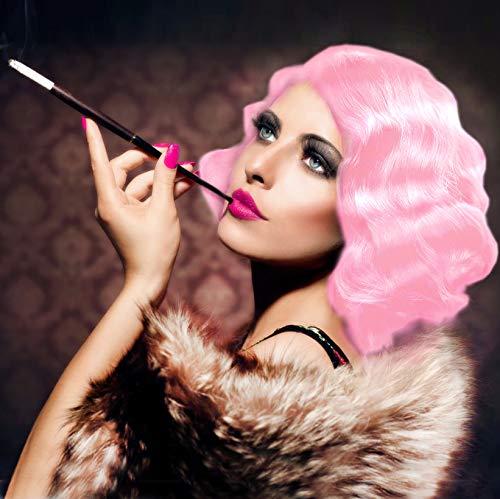 STfantasy Rosa 20s Perücke Burlesque Faschingsperücke Betty 20er Wasserwelle gelockt kurz layered Retro Sexy wig für Frauen Cosplay Kostümparty Karneval Halloween - Layered Cosplay Kurz Perücken