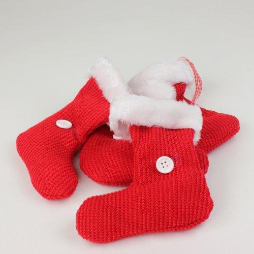 Strick-Stiefel zum Hängen rot-weiß 13,5 cm 4 Stück